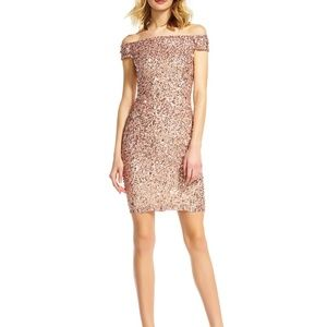 Adrianna Pappell Off Shoulder Sequin Sheath Dress